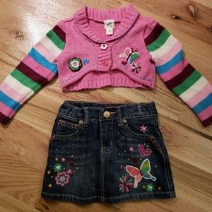 Gymboree 24 mo Sweater & Denim Mini Skirt